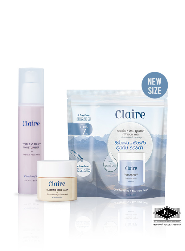 Claire Treatment Pad 30 pads + Claire Milky Moisturizer + Claire Milk Mask